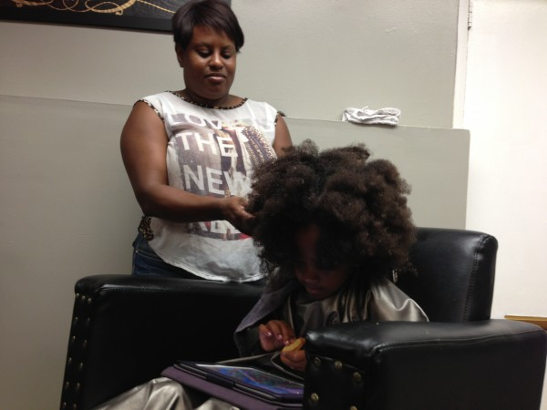 This is how big Naomi's hair is when it's all poofed out!