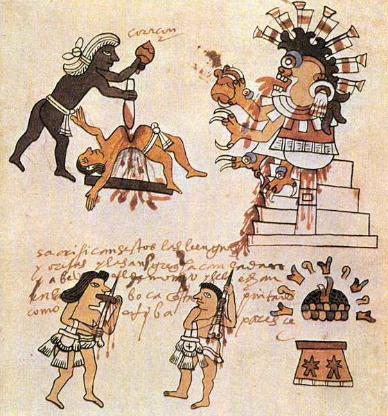 Human sacrifice as shown in the Codex Magliabechiano, Folio 70. Heart-extraction was viewed as a means of liberating the istli and reuniting it with the Sun: the victim's transformed heart flies Sun-ward on a trail of blood.