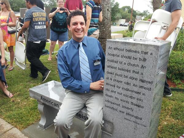 AA President Dave Silverman sits on the bench (via @AmericanAtheist)