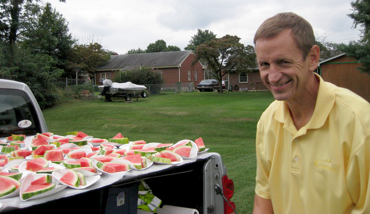 "Al Soltis directs the Federation of Christian Athletes' ""Watermelon Ministry"" at southwestern Virginia public high schools (image via Facebook)"