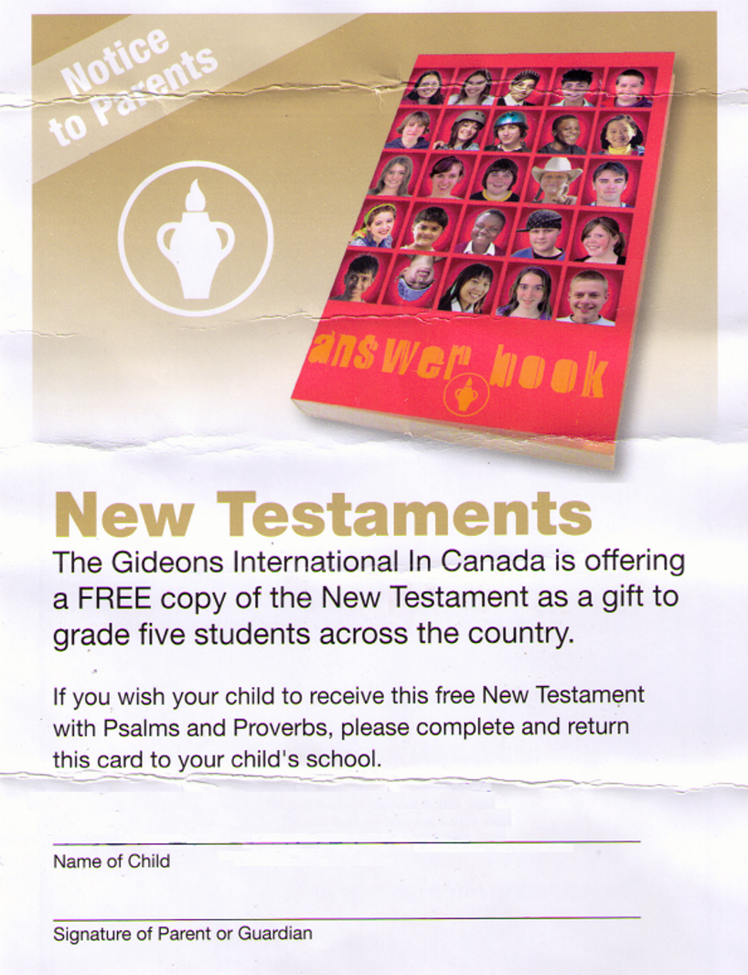 British Columbia Humanists To School District Stop Bible Giveaway