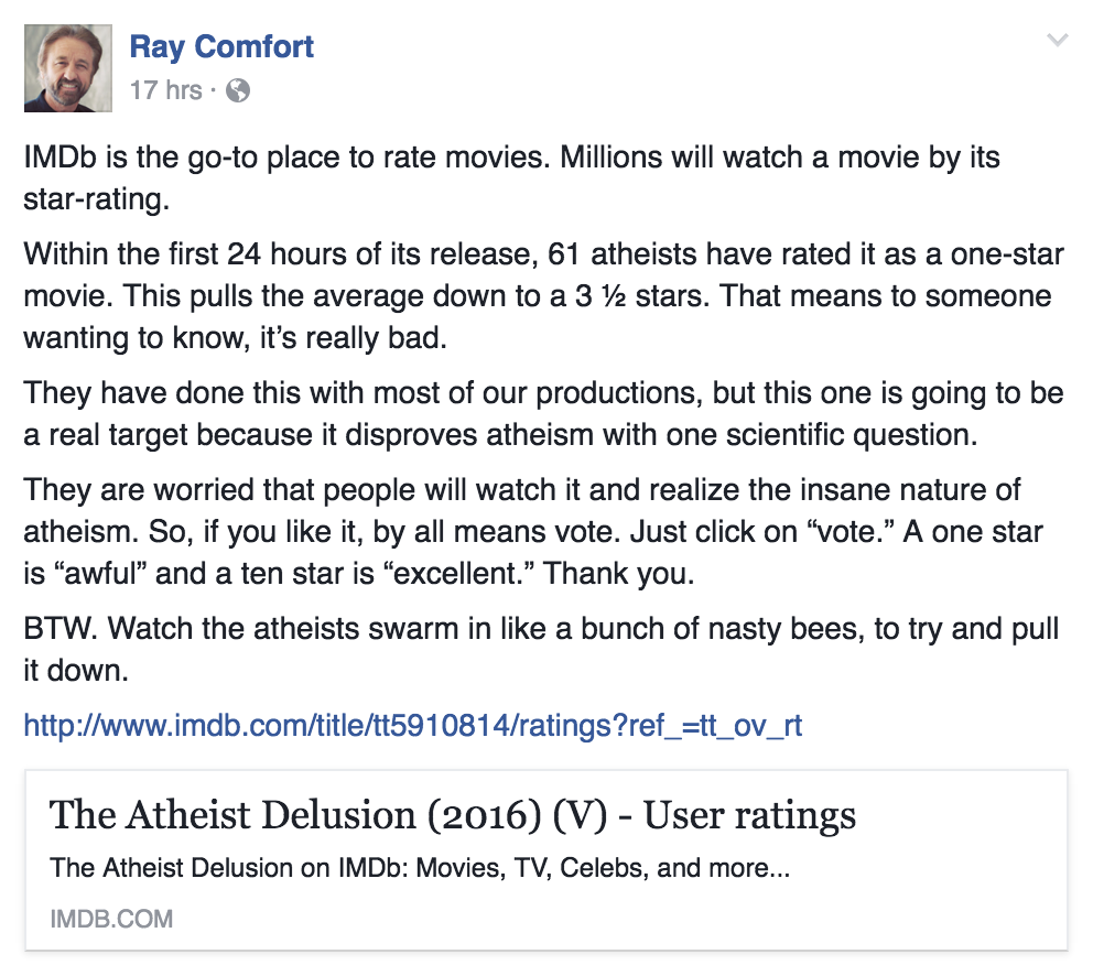 Atheists Aren\'t Conspiring to Give Ray Comfort\'s New Movie a Lousy ...