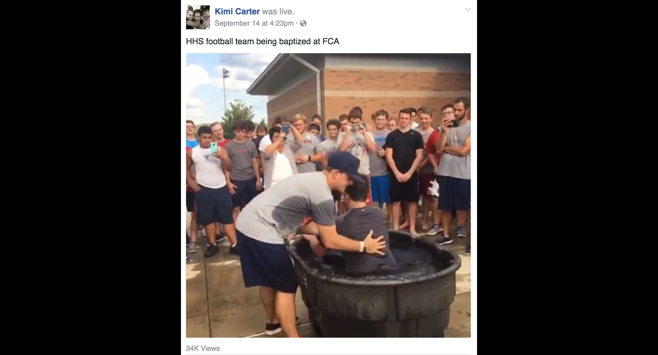 Another Georgia School Conducts Mass Baptism for Football Players With Help of Head Coach