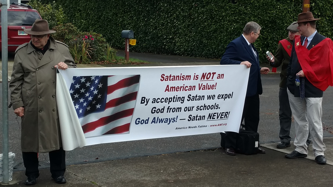 Image result for after school satan club oregon protest