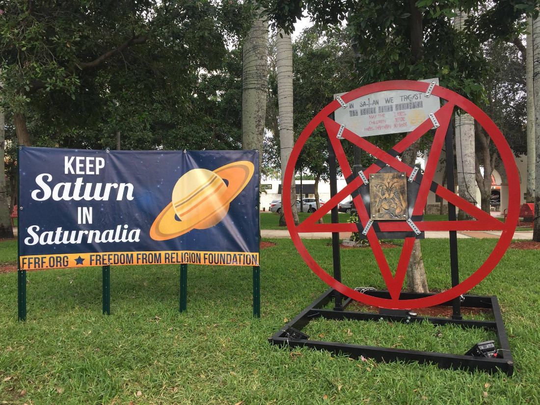 Vandals destroyed the satanic display in florida by chaining it to 12 17 16 biocorpaavc