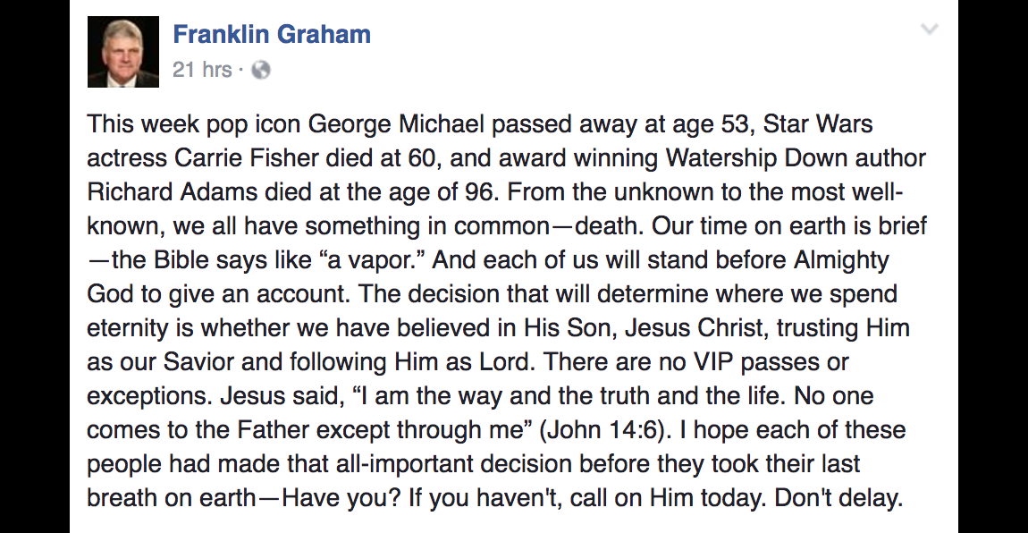 Franklin Graham: Carrie Fisher and George Michael Are in Hell (Unless They Accepted Jesus)