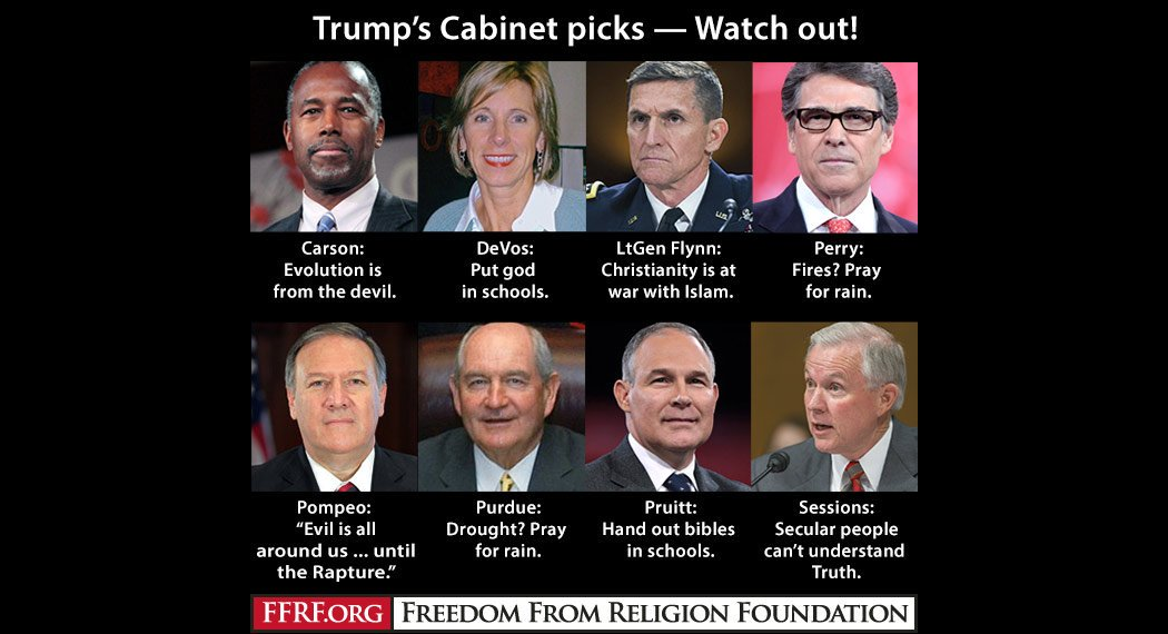 Donald Trump's Faith-Obsessed Cabinet in a Nutshell – Friendly Atheist