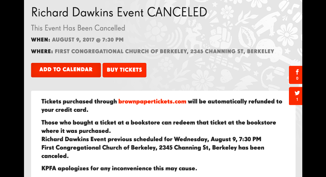 Radio Station Calls Off Event With Richard Dawkins""
