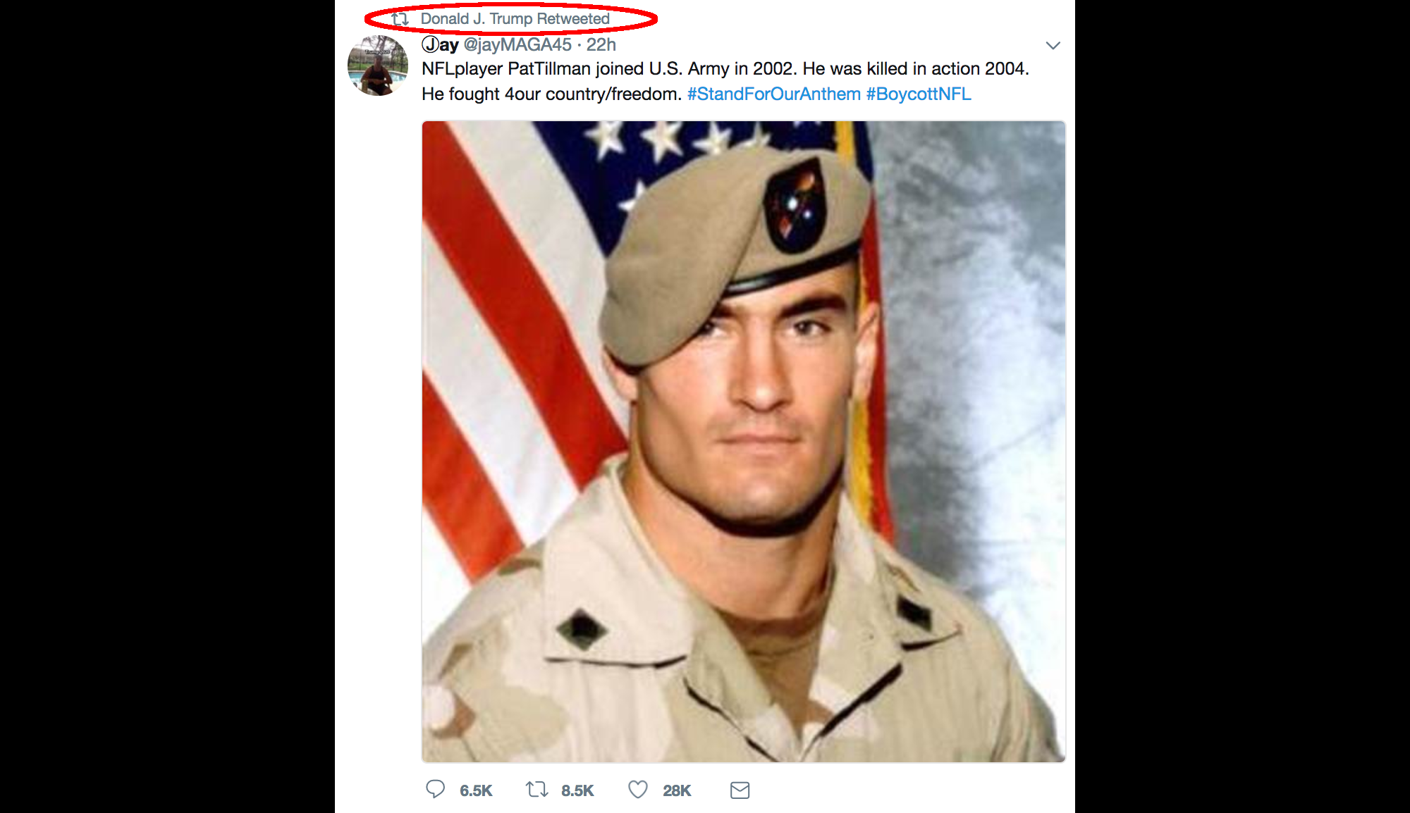 Pat Tillman's widow asks Trump not to politicize her husband's service