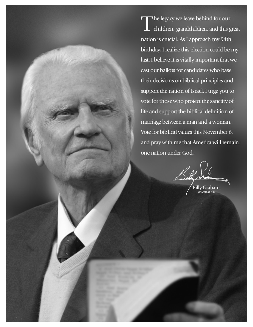 Billy graham preaching against homosexual marriage