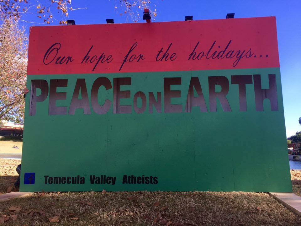 """Atheist Group Puts Up """"Peace on Earth"""" Display in California Park"""