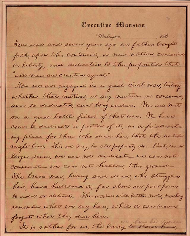 What does the gettysburg address mean to you?...because...?