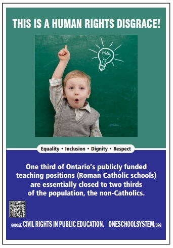 why are only catholics schools funded One public education now is a coalition of groups and individuals who are crowdfunding for a constitutional challenge through our courts to eliminate the public funding of the duplicate catholic separate school system.