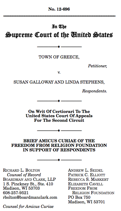 Freedom From Religion Foundation Files Amicus Brief for Supreme ...