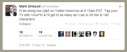 Mark Driscoll Will Be Answering Questions On Twitter This Morning (UPDATED)