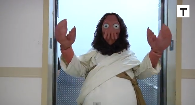 in response to christian protesters zoidberg jesus visits comic con