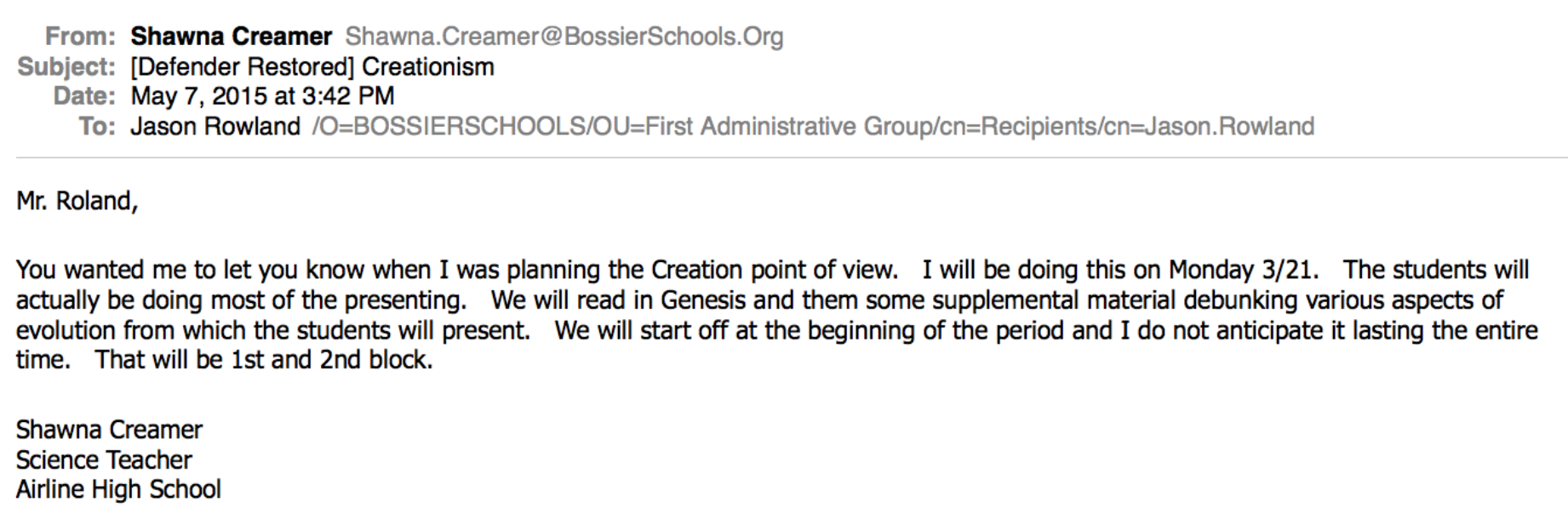 Emails Document Teaching of Creationism in Louisiana Public School ...