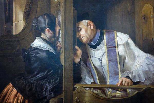Giuseppe Molteni (1800-1867), The Confession, 1838 (Gallerie di Piazza Scala, Milan)