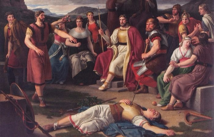 """Æsir gathered around the body of Baldr"" by Christoffer Wilhelm Eckersberg. From WikiMedia."