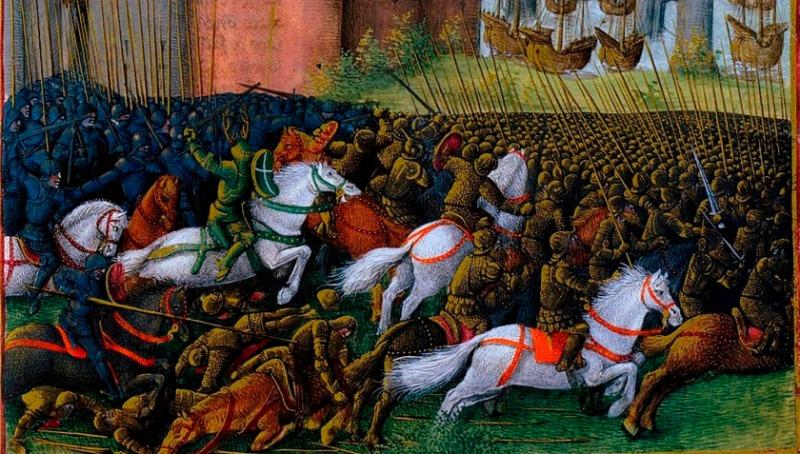 """Siege of Tyre"" from  1474 via WikiMedia."