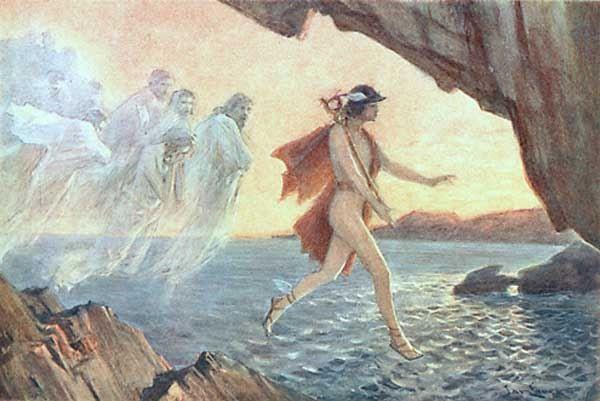 Hermes Leads the Lamenting Souls, by Jan Styka. Public domain image.