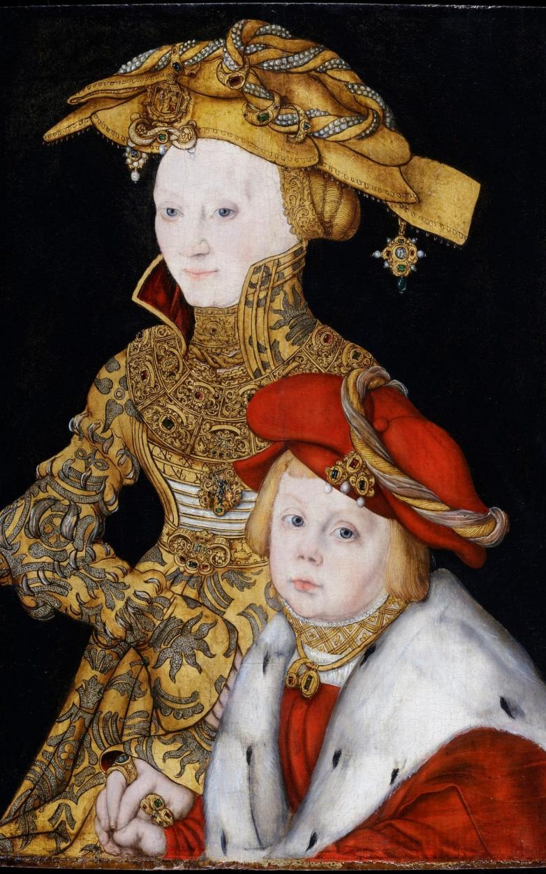 Portrait-of-a-Lady-and-her-Son-by-Lucas-Cranach-the-Elder