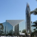 Seeing through a famous glass cathedral, rather dimly