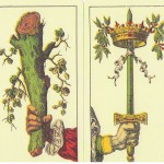 The Aces of the tradition Latin suits: Cups, Clubs, Swords, Coins. These are used for all Italian-suited cards, not just Tarot.