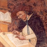 Cardinal Hugh of Saint-Cher at study. wearing the first eyeglasses ever depicted in art. (Tommaso da Modena, 1352)