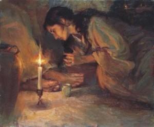 Woman anoints Jesus' feet