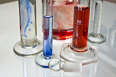 Transparent chemistry glass tubes filled with substances