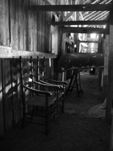 Twin Chairs in Barn by Amy on flickr