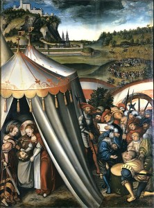 Painting of Judith with the head of Holofernes in a tent. Outside, a group of men are gathered arguing. In the background, there is an army standing in a circle and a large castle on a hill against a sky that looks as if it will begin storming.