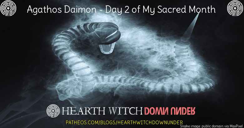 The Agathos Daimon is the household spirit who often is seen in serpent form.