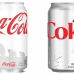 White holiday can on the left, Diet Coke can on the right.