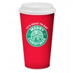 "16 oz. paper cup with plastic lid: ""It's Okay to Say Merry Christmas"""