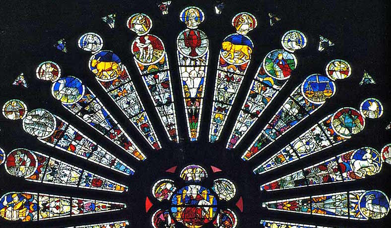 The Zodiac is represented in the transepts of the top half of the South Rose Window of Christ at the Saint Maurice Cathedral of Angers, France. Designed by Andre Robin, c. 1451.