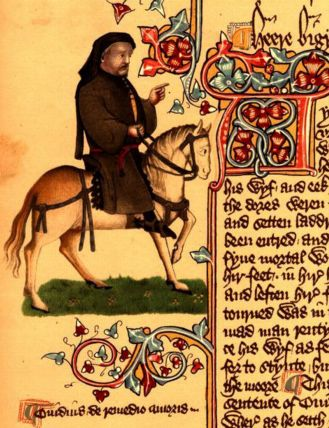 Chaucer, author of the Canterbury Tales, is shown here as a pilgrim (Image from the Ellesmere manuscript via Wikimedia Commons)