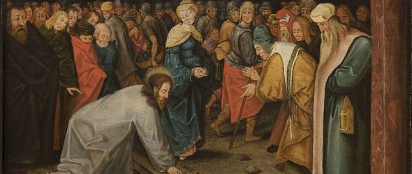 Brueghel_II,_Pieter_-_Christ_and_the_Woman_Taken_in_Adultery_1600
