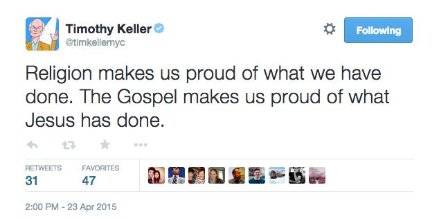 TIm Keller Karl Barth gospel religion dichotomy