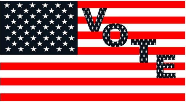 """Caption: Image of US flag with """"Vote"""" written on it (ZIPNON/Pixabay)"""