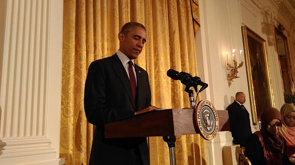 President Obama addressing Muslims at an iftaar event in 2014. Image source: Wikimedia Commons
