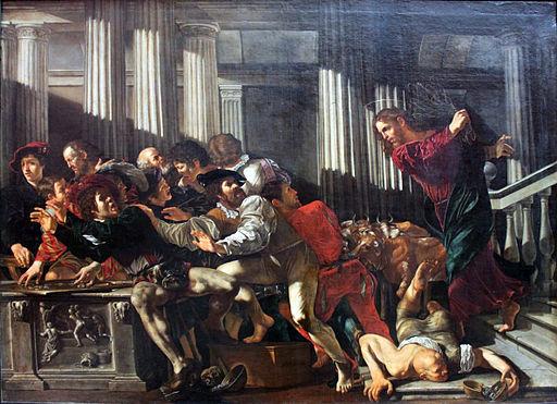 1610_Cecco_del_Caravaggio_Christ_expulses_money_changers_anagoria