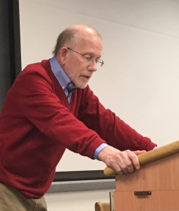 Michael Cromartie speaking to students at Georgetown University in March 2017.