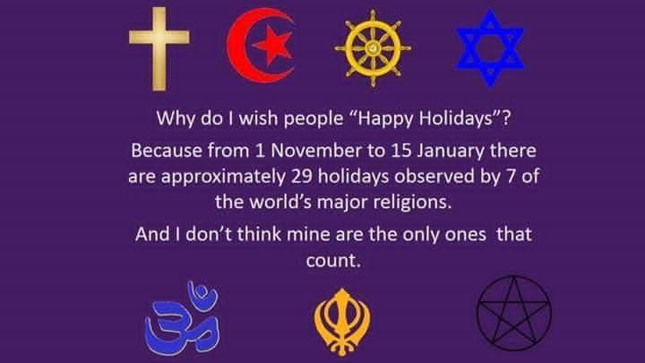No Happy Holidays Isnt A Way Of Respecting All Religions - 7 major religions