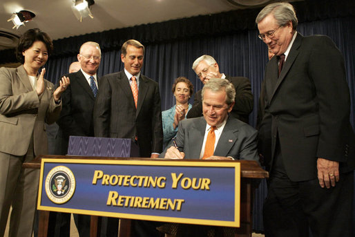 https://commons.wikimedia.org/wiki/File%3APresident_George_W._Bush_signs_the_Pension_Protection_Act.jpg; By White House photo by Kimberlee Hewitt [Public domain], via Wikimedia Commons