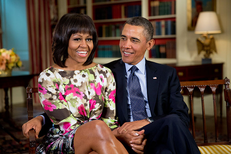 https://commons.wikimedia.org/wiki/File%3AMichelle_and_Barack_Obama.jpg; By Pete Souza (White House (021913PS-0395)) [Public domain], via Wikimedia Commons