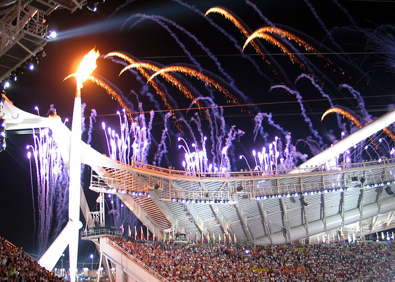 https://commons.wikimedia.org/wiki/File%3AOlympic_flame_at_opening_ceremony.jpg; By I, Alterego, took this photo and release under the terms of the GNU Free Documentation License (Own work) [GFDL (http://www.gnu.org/copyleft/fdl.html) or CC-BY-SA-3.0 (http://creativecommons.org/licenses/by-sa/3.0/)], via Wikimedia Commons