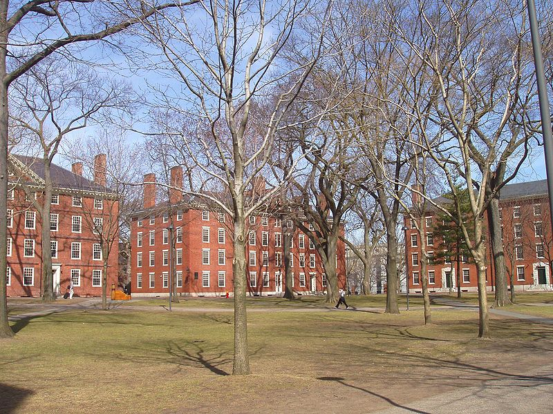 https://commons.wikimedia.org/wiki/File%3AHarvard_Yard%2C_Harvard_University.JPG; By Daderot. (Own work) [GFDL (http://www.gnu.org/copyleft/fdl.html) or CC-BY-SA-3.0 (http://creativecommons.org/licenses/by-sa/3.0/)], via Wikimedia Commons