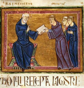 (St. Benedict delivering his Rule to St. Maurus and other monks of his order, from the Monastery of St. Gilles, Nimes, France, 1129. Source: Wikimedia, Creative Commons License).